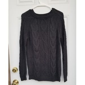 Forever 21 Cable Knit Charcoal Grey Sweater